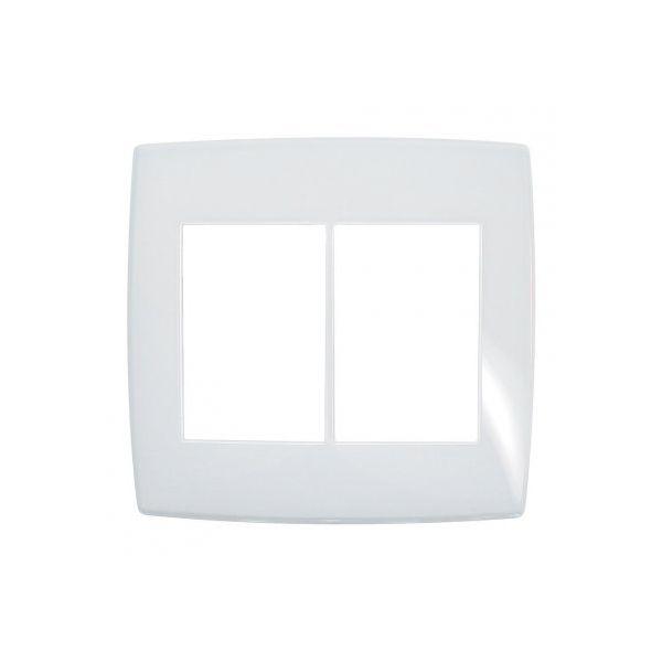 Placa 4x4 3+3 Postos Gloss 618536 Pialplus  Branco