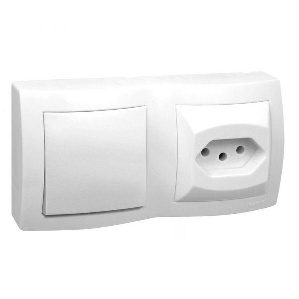 Interruptor  Simples 2p + T Dupla 10a 675063 Sistema X  Branco