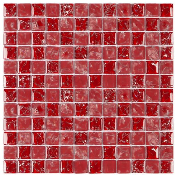 Pastilha 30x30 Ice Vermelha Ic03 Glass Mosaic