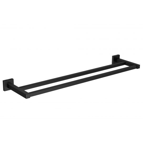 Porta Toalha com Barra Dupla Quadratta Black Matte Deca