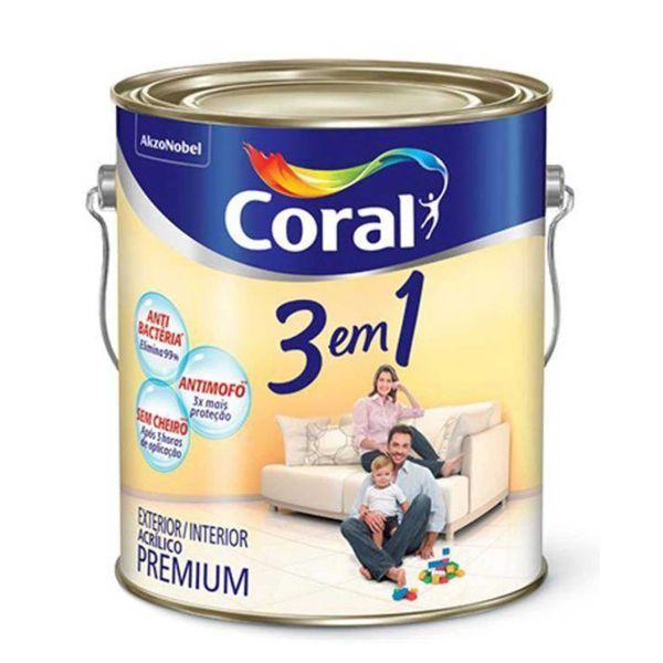 Tinta Acrílica 3 em 1 Branco 900ml Coral