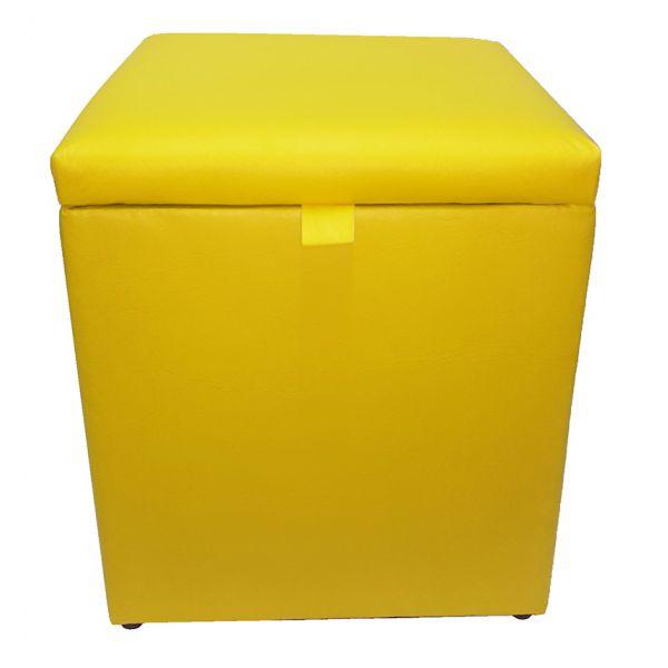 Puff com Baú Top Amarelo Kicasa Decor