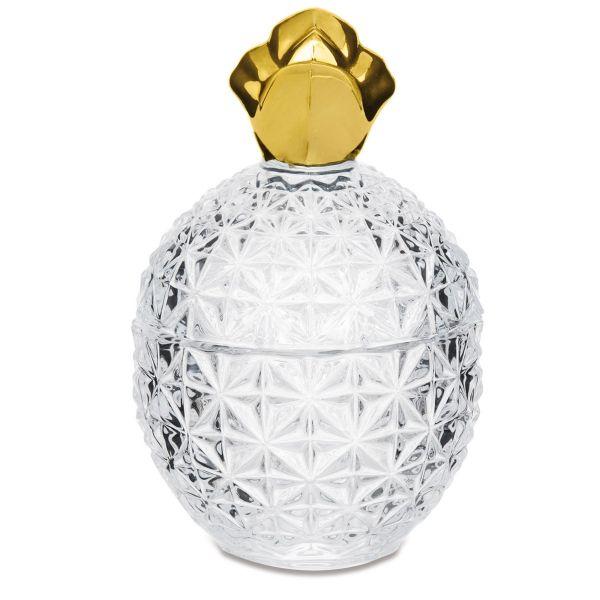 Peça Decorativa Abacaxi em Vidro 7709 Transparente/Dourado Mart Presentes