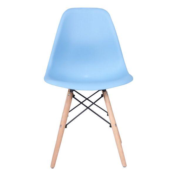 Cadeira Eiffel Pp Sem Braço Base Madeira Azul Bali  Rivatti Moveis