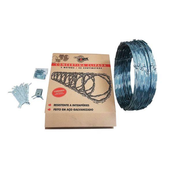 Kit Concertina Espiral Clipado 45cmx5m Calha Forte
