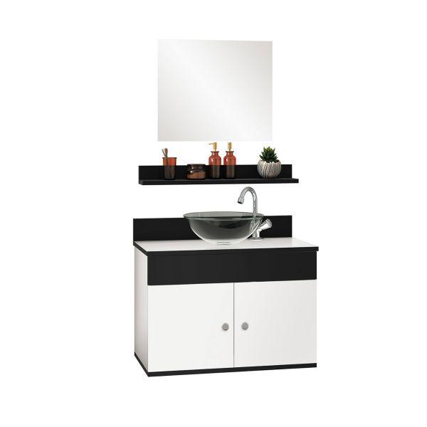 Kit Avanti com Cuba e Espelho Branco/Onix 60  Branco Astral Design