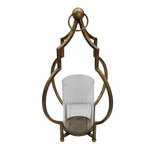 Lanterna Metal e Vidro Gt0023  Dourada Btc Craw