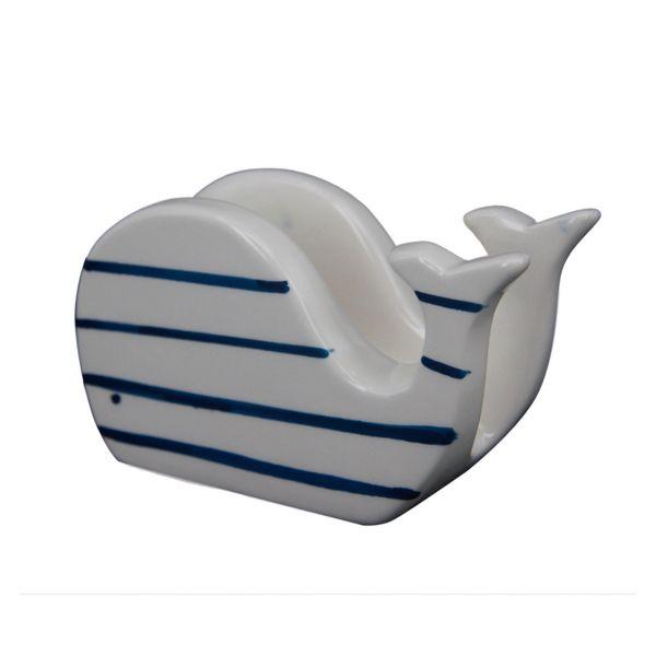 Porta Guardanapo De Baleia Sk0160  Branco/Azul Btc Craw