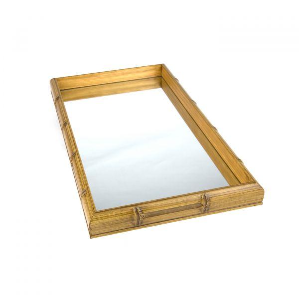 Bandeja Bambu com Espelho 11611 26x46cm Madeira / espelho Woodart