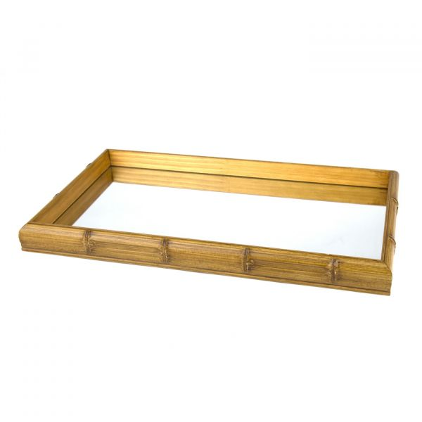 Bandeja Bambu com Espelho 11610 26x46cm  Madeira / espelho Woodart