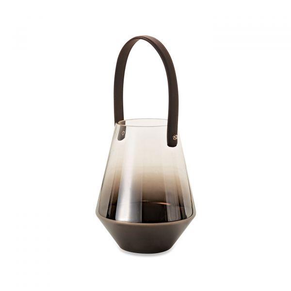 Lanterna Vidro Degrade 09414 21,5x16,5 Black/Niquel Mart Presentes