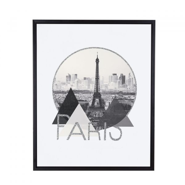 Quadro Canvas Paris 09578  50x40cm Paris Preto/Branco Mart Presentes