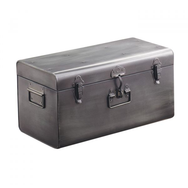 Baú Decorativo Metal 09741p 26x51x28 Prata Mart Presentes