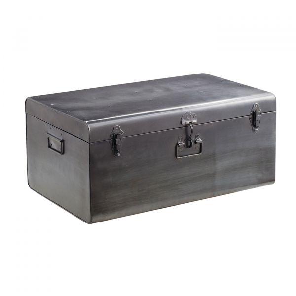 Baú Decorativo Metal 09741g 31x70x46 Prata Mart Presentes