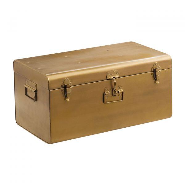 Baú Decorativo Metal 09745m 28x60x36 Dourada Mart Presentes