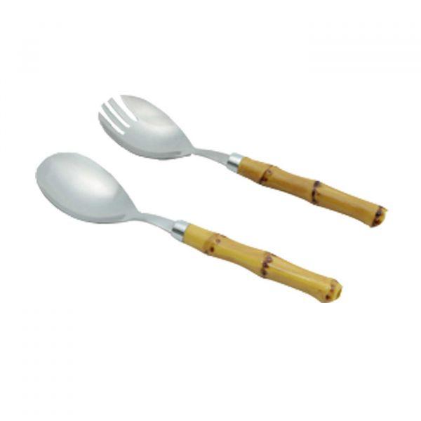 Conjunto 2pc Para Salada de Aço Inox Comcabo de Plástico Cor Bambu Natural 21cm Lyor