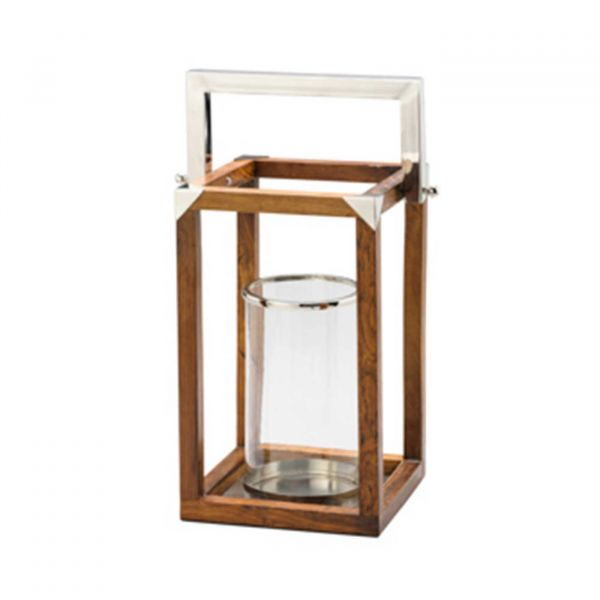 Lanterna Vidro Decorativa com Alça 1052  Madeira Lyor