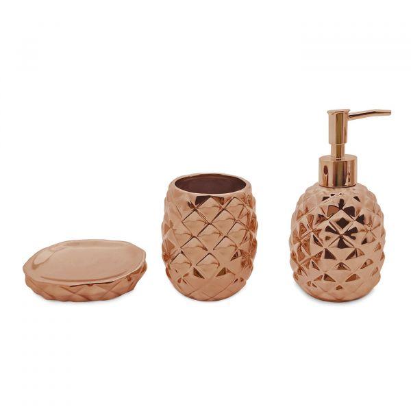 Kit Banheiro Abacaxi 3pç BH1780B Bronze Mimo