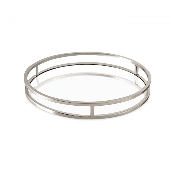 Bandeja Espelhada Metal Redenda Prata 09624 4x30cm Mart Presentes