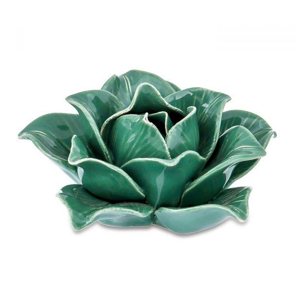 Peça Decorativa Flor Cerâmica 7645 Verde Mart Presentes