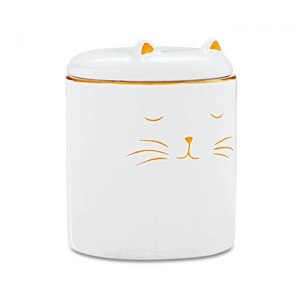 Pote Gato Cerâmica 8694 Branco/Dourado Mart Presentes