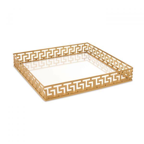 Bandeja Espelhada Metal Redonda 09644 4x26,5x26,5 Dourada Mart Presentes