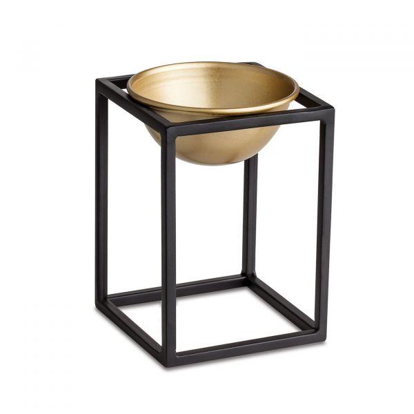 Cachepot com Suporte Metal 10130m  14x10 Preto/Dourado  Mart Presentes