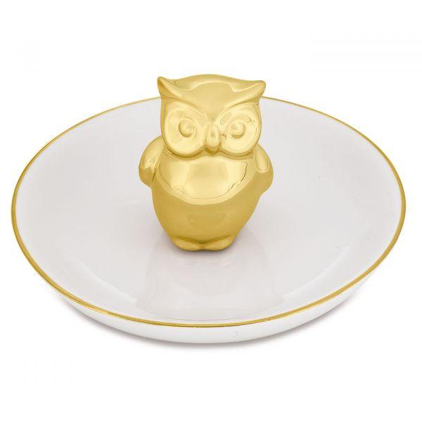Porta Bijoux Coruja Cerâmica 7668  Dourado Mart Presentes