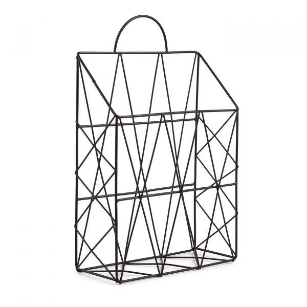Porta Revista Geometrico Metal 10972  Preto Mart Presentes