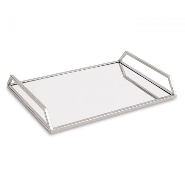 Bandeja Espelhada Metal 11169p 5x29cm  Prata Mart Presentes