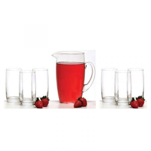 Jg jarra/copos vidro 7pc 975tr  . .