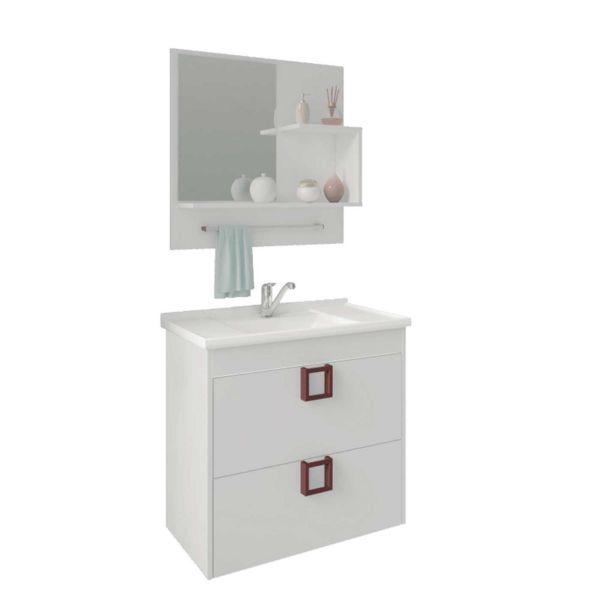 Kit Lirio 59x35.5x56 Cuba e Espelho Branco MGM