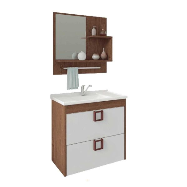 Kit Lirio 59x35.5x56 Cuba e Espelho Amêndoa/Branco MGM