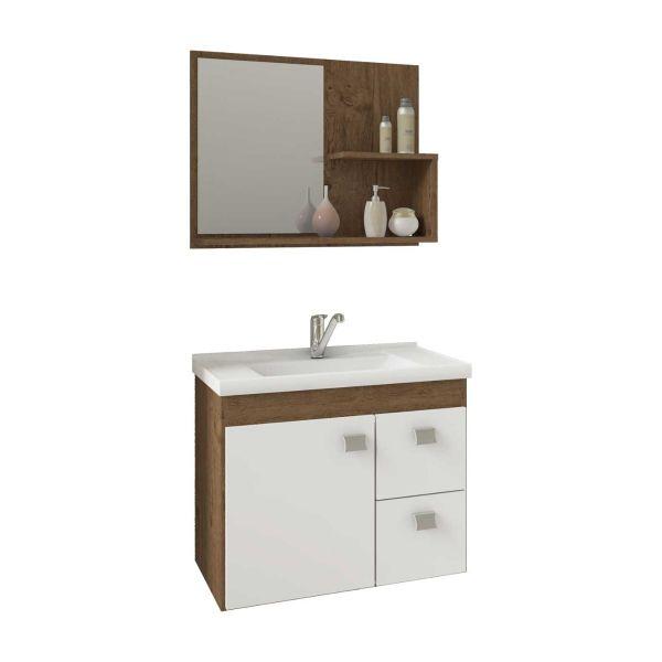 Kit Hortência 55x31,5x46 Cuba e Espelho  Amêndoa/Branco MGM