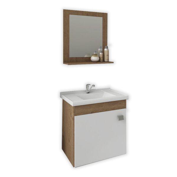 Kit Iris 44,8x31,5x46 Cuba e Espelho Amêndoa/Branco MGM