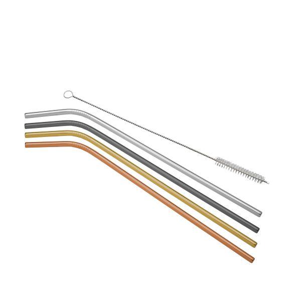 Canudo Reutilizável com Escova 4 peças 35359 Colorido Rojemac
