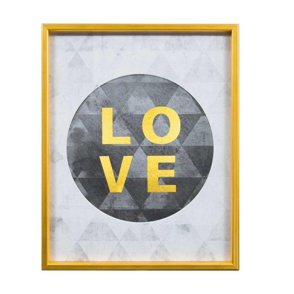Quadro Canvas Love 6334 40x50cm Dourado Mart Presentes
