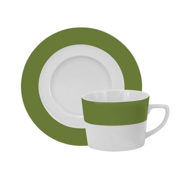 Xicara Café Com Pires Militar 08  Verde Escuro Schmidt