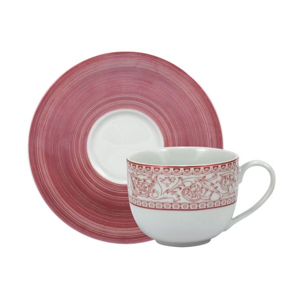 Xícara Chá  com Pires Millenium 20cm  Rose Schmidt