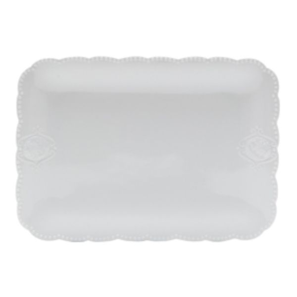 Travessa Super White Queen 33x23,5 8186  Branco Lyor