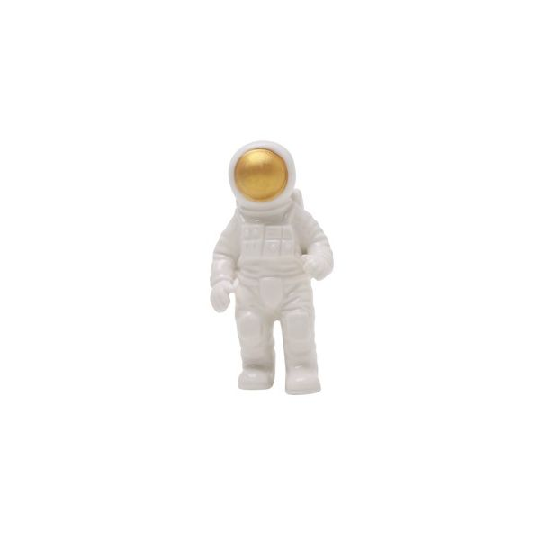 Decor Cosmic Astronaut G 43832 7x14cm  Branco/Dourado Urban