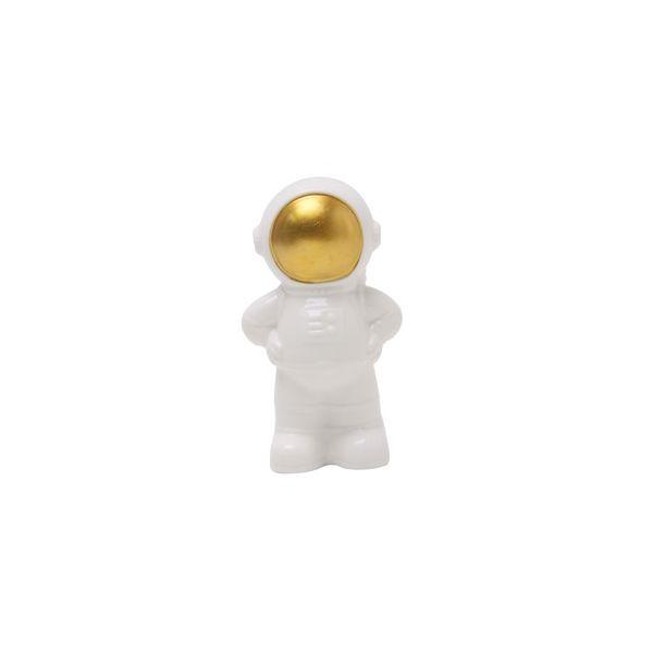 Decor Cosmic Astronaut P 43833 6x11cm  Branco/Dourado Urban