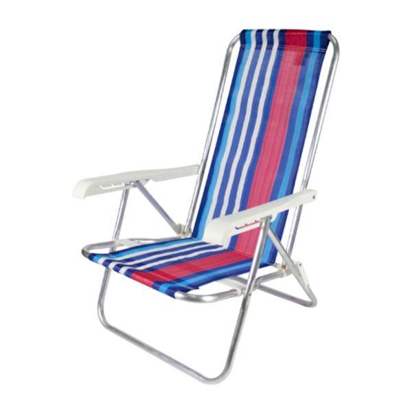 Cadeira Praia Reclinável 4 Posições Alumínio Cores Belfix