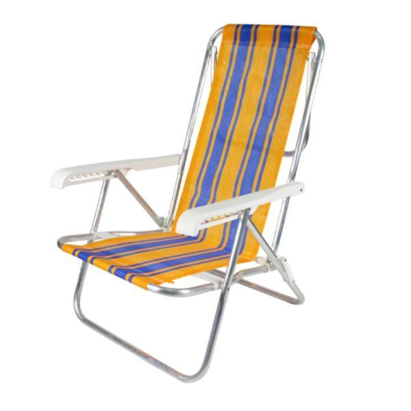 Cadeira Praia Reclinável 8 Posições Alumínio Cores Belfix