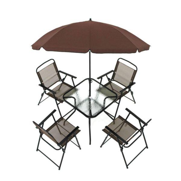Conjunto Mesa com 4 Cadeiras e Guarda Sol Miami Café Belfix