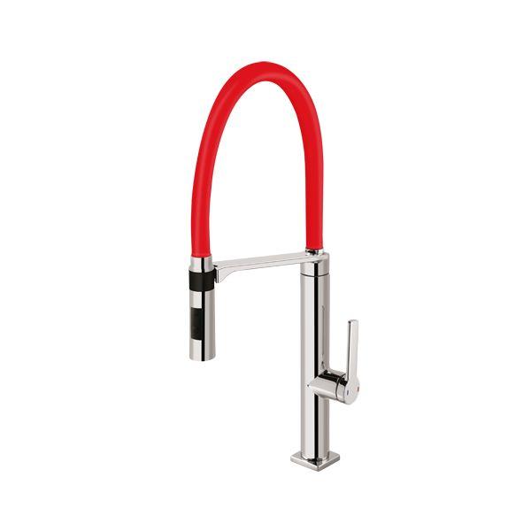 Misturador  Monocomando Para Cozinha de Mesa Doc  Chrome/Vermelho Docol