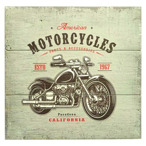Placa Madeira American Motorcycles 30x30cm  Colorido Btc Craw