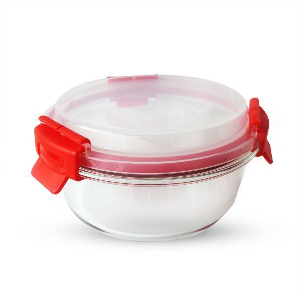Pote de Vidro Redondo 15.4 X15.4 X 9  Vermelho Kobe