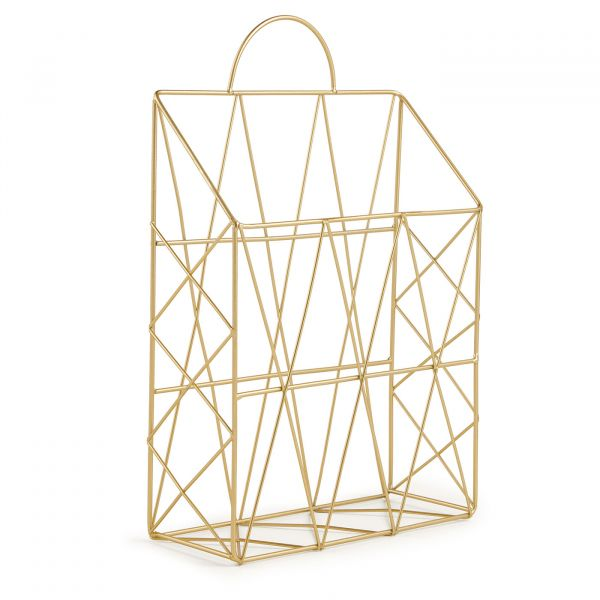 Porta Revista Geometrico Metal 10971  Dourado Mart Presentes