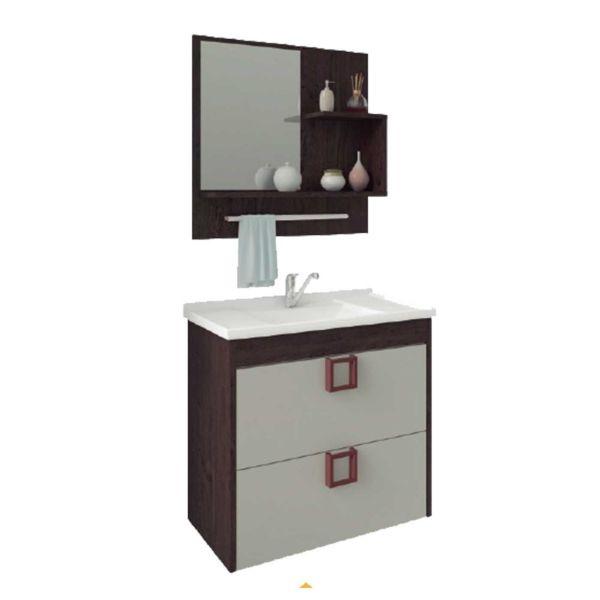 Kit Lirio 59x35.5x56 Cuba e Espelho Café/Off White MGM